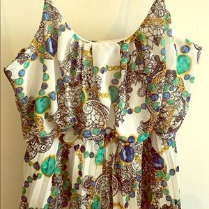 Green/Blue chain print pleated long maxi dress